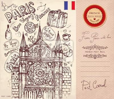 main dessiné vecteur carte avec des symboles de Paris
