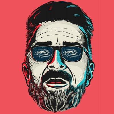 Image Main, dessiné, vecteur, figure, hipster, homme, lunettes