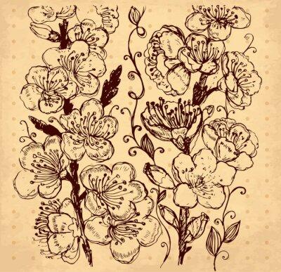 main dessiné vecteur illustration avec des fleurs
