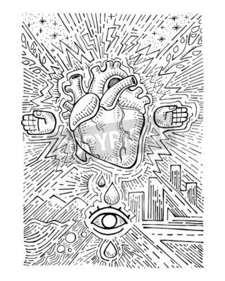 Image Main Dessiné Vecteur Illustration Ou Dessin Humain Coeur