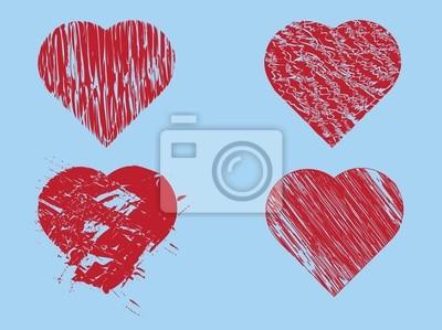 Main dessinée coeurs rouges