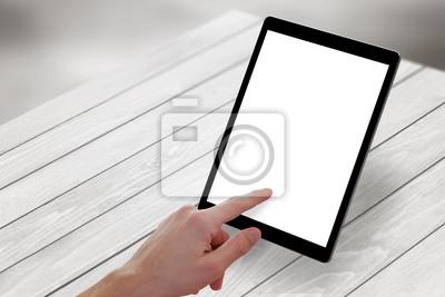 Main main toucher tablette écran bois bureau vue isométrique