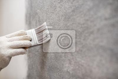 Image Main Ouvrier Utilisation Brosse Couleur Peinture Béton
