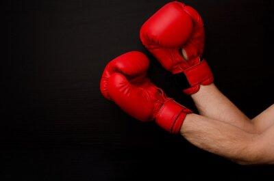 Image Main, rouges, boxe, gants, coin, cadre, noir, fond, vide, espace