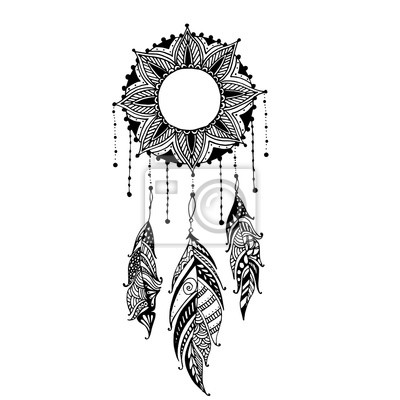 main tir lune soleil mandala dreamcatcher plumes. Black Bedroom Furniture Sets. Home Design Ideas