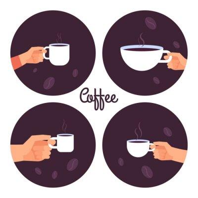 Image Mains tenant des tasses de café vector icons set isolé sur fond blanc illustration