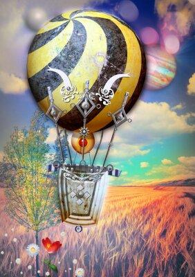 Image Maïs, fied, arbre, steampunk, chaud, air, balloon