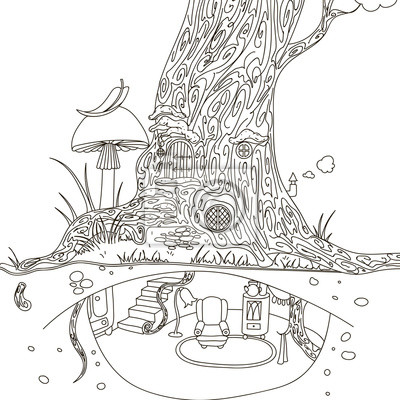 Maison De Larbre Magique Main Dessin Isole Objets Blanc
