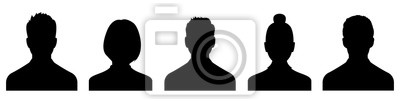 Image Male and female head silhouettes avatar, profile icons. Vector