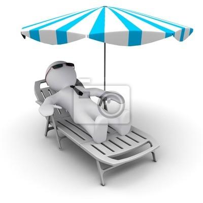 Man # D en vacances sous un parasol