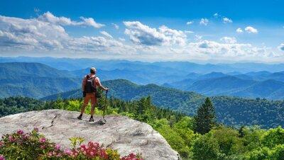 Image Man standing on top of the mountain relaxing and  enjoying beautiful summer mountain landscape. Near Asheville, Blue Ridge Mountains, North carolina, USA.