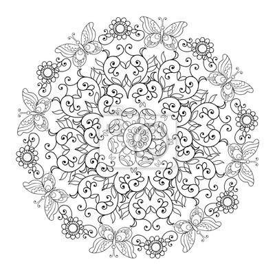 Mandala De Fleurs Et De Papillons Livre A Colorier Pour Adulte Peintures Murales Tableaux Coloration Creation Passe Temps Myloview Fr
