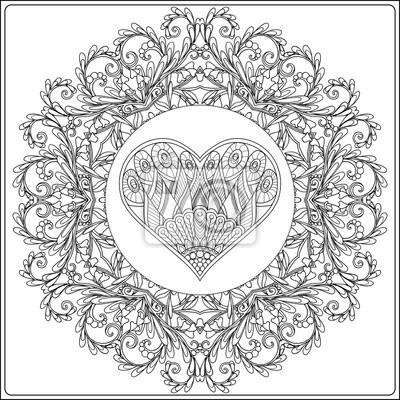 Coloriage Adulte A Imprimer Amour.Image Mandala Floral Dessine A La Main Avec Des Papillons Et Coeur