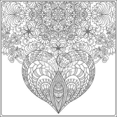 Coloriage De Mandala Damour A Imprimer.Mandala Floral Dessine A La Main Avec Des Papillons Et Coeur