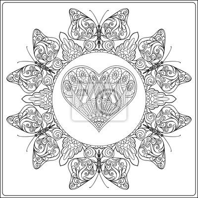 Mandala Floral Dessine A La Main Avec Des Papillons Et Coeur Peintures Murales Tableaux Nubes Coloration Creation Myloview Fr