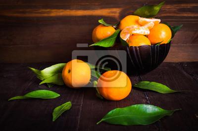 Mandarines, bois, fond