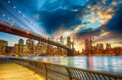 Image Manhattan, New York City. Spectacular sunset city view.
