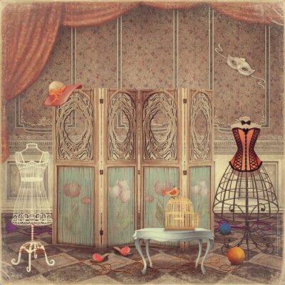 Image Mannequin vintage et un écran dans la salle, à la mode et femini