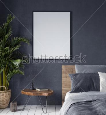 Image Maquette affiche à l'intérieur de la chambre, style ethnique, rendu 3d