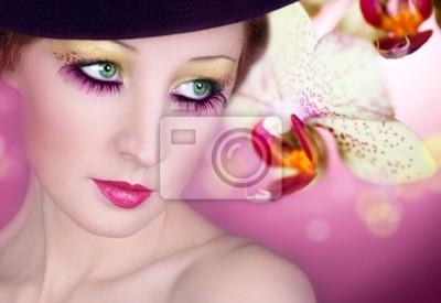 Maquillage Lumineux Des Yeux Et Fleur Dorchidée Peintures Murales