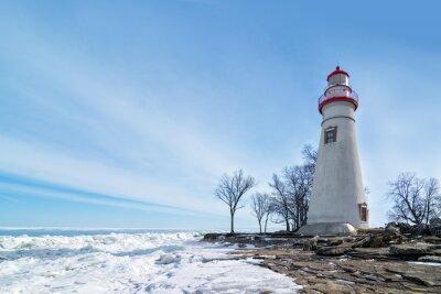 Image Marblehead, phare, hiver, scène