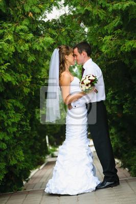 mariage couple, debout, embrasser et à regarder les uns les autres