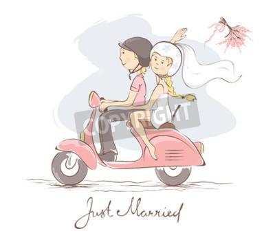 Image Mariée et le marié sur un scooter / illustration vectorielle, carte, mariée jette le bouquet