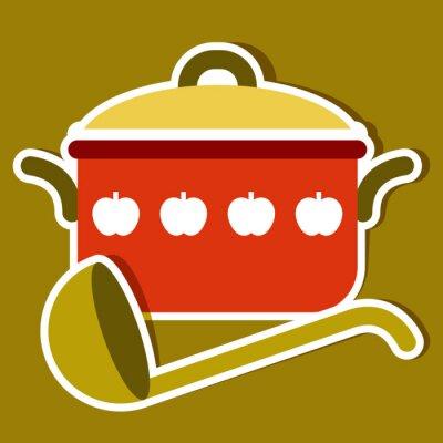 Image Marmite et louche. cuisine symboles de vecteur