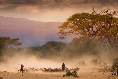Image Masai bergers avec troupeau de chèvres