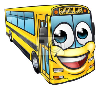 Image Mascotte De Personnage De Dessin Animé De Bus Scolaire