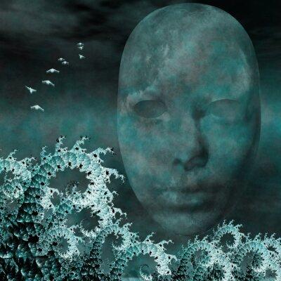 Image Masque et fractales que les vagues de l'océan surréaliste