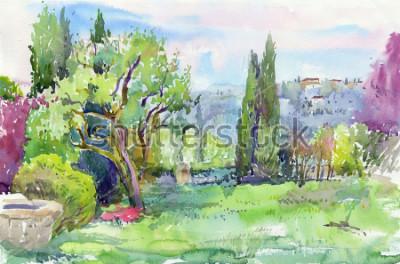 Image Matin dans le jardin à l'italienne. Aquarelle