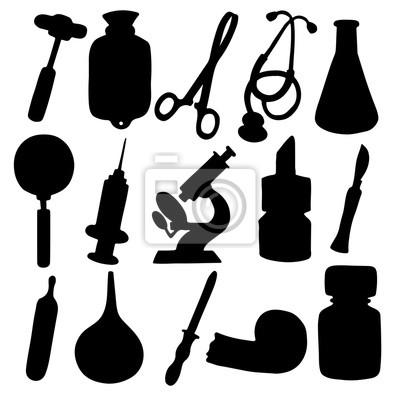 Médical, icônes, ensemble, noir, silhouette, isolé, blanc, fond