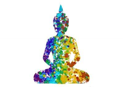 Image Meditating Buddha posture in rainbow colors