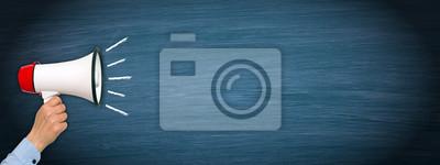 Image Mégaphone, main, bleu, horizontal, tableau noir, copie, espace, texte
