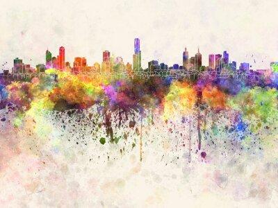 Image Melbourne horizon dans le fond d'aquarelle