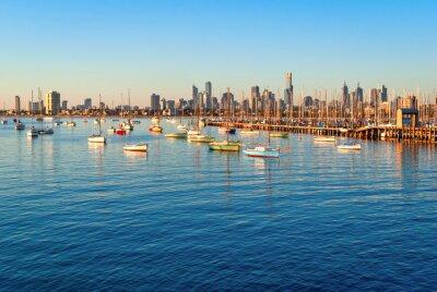 Image Melbourne horizon de St Kilda au coucher du soleil (Victoria, Australie)