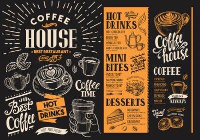 Image Menu de café restaurant. Dépliant de boisson pour bar et café. Modèle de conception avec des illustrations d'aliments dessinés à la main vintage.