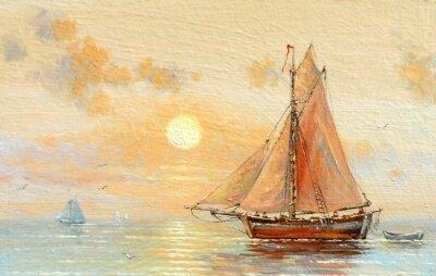 Image Mer, bateaux, pêcheur, peintures à l'huile