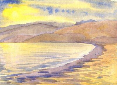 Image Mer et montagne. Paysage. La peinture à l'aquarelle