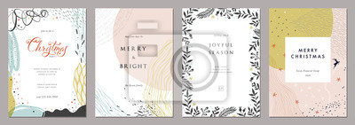 Image Merry Christmas and Modern Business Holiday cards. Abstract creative universal artistic templates.