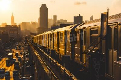 Image Métro, train, nouveau, York, Coucher soleil