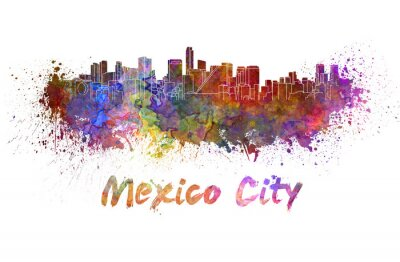 Image Mexico City skyline in watercolor