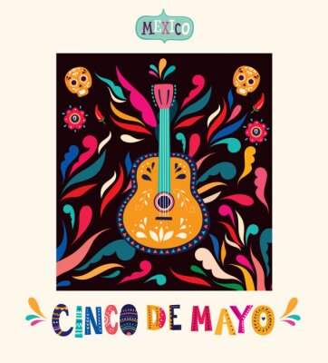 Mexico illustration with guitar. Vector illustration with design for Mexican holiday 5 may Cinco De Mayo. Vector template with Mexican symbols: Mexican guitar, flowers, red pepper, skull