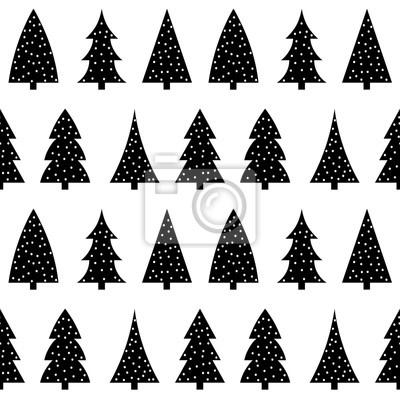 Mignon Arbre De Noel Noir Sur Un Fond Blanc Modele Vecteur Sans Peintures Murales Tableaux Joyeux Epinette Sapin Myloview Fr
