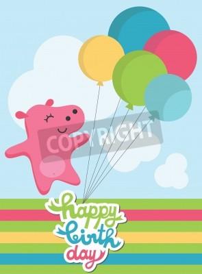 Mignon Carte De Joyeux Anniversaire Avec Hippo Fun Illustration