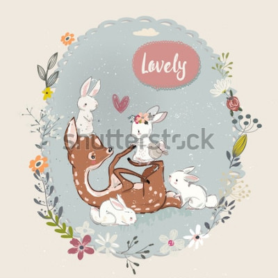 Image mignon cerf d'été avec des lièvres