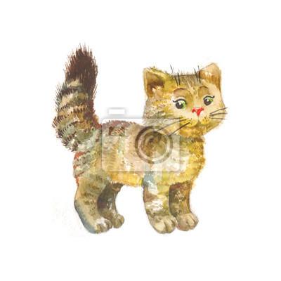 Mignon, chaton, aquarelle