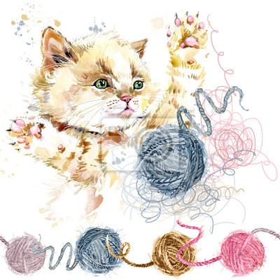 Mignon chaton et pelote de laine fils dessinés à la main illustration aquarelle