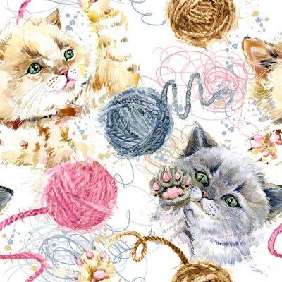 Mignon chaton et pelote de laine modèle sans couture aquarelle